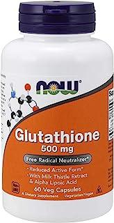 NOW 谷胱甘肽补充剂,500毫克,含牛奶蓟提取物和α-硫辛酸,自由基中和剂