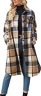 Ainangua 女式休闲羊毛混纺长款格子衬衫夹克系扣口袋衬衫披肩