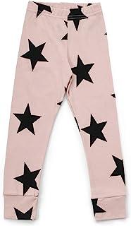 NUNUNU 婴儿和婴儿打底裤 - 柔软棉质中性款裤子,适合婴儿、女孩和男孩,粉粉色 - 星星,12-18 个月