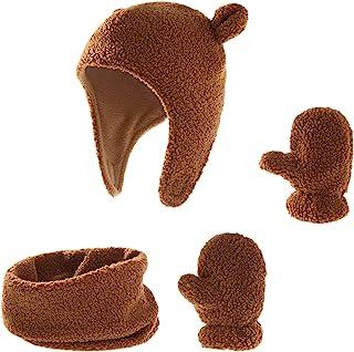 冬季保暖帽手套,羊毛衬里无檐*帽,适合小男孩女孩的保暖耳罩儿童手套