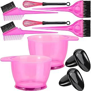 10 件专业*剂套件,适用于沙龙和家庭、混合碗、染色刷、耳罩、染色搅拌机(粉色)