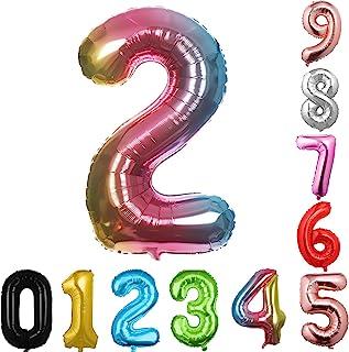 40 英寸大数字气球多色气球巨型氦气球 数字 0 1 2 3 4 5 6 7 8 9 生日周年纪念派对婴儿淋浴婚礼装饰节日气球(多色 2)