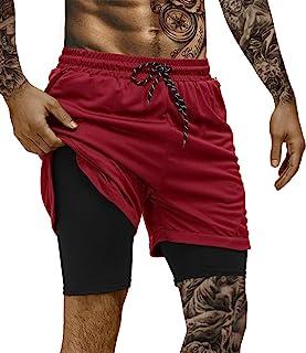 poriff 男式 2 合 1 健身跑步短裤健身房运动短裤带内衬 7 英寸短裤带拉链口袋