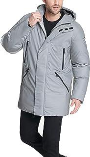 DKNY 男式防水連帽徽標派克大衣夾克