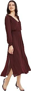 基本款女式长袖花卉休闲束腰中长款连衣裙,带腰带