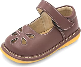 Brown Flower Punch Mary Jane Toddler Girl Squeaky Shoes