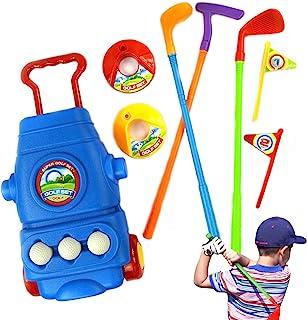 3 岁女孩和男孩的玩具 | *高尔夫俱乐部玩具套装 | 3 个高尔夫球杆、3 个球、2 个练习孔、1 个轮式储物盒,适合男孩和女孩幼儿、儿童户外游戏
