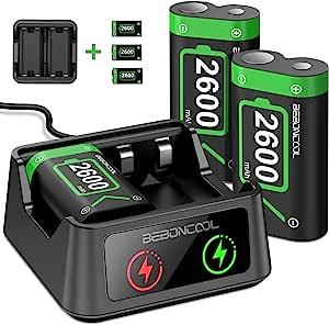 控制器电池组适用于 Xbox 系列 X|S/Xbox One 可充电电池组,适用于 Xbox One X/Xbox One S/Xbox One Elite/Xbox Series X|S 控制器,电池充电器带 3x2600mAh 电池组(3 件装)