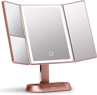 Fancii 化妆镜,带自然 LED 灯,三折化妆镜,带 5 倍和 7 倍放大 - 40 种可调光灯,触摸屏,化妆支架 - Sora (玫瑰金)