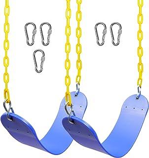 Juegoal 2 件装重型秋千座椅带 167.64 厘米链子塑料涂层和按扣挂钩,非常适合游乐场、后院和游乐室、秋千座椅更换和登山扣,易于安装,蓝色