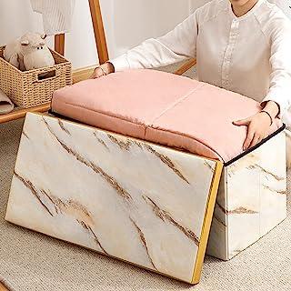 可折叠长储物凳,人造皮革,大理石图案,多功能座椅,可用于客厅,入口,卧室和现代风格的脚凳