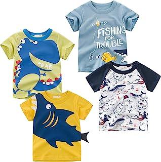 Kivors 幼儿男孩 4 件装恐龙短袖圆领 T 恤卡通棉上衣 T 恤尺码 2-6 岁