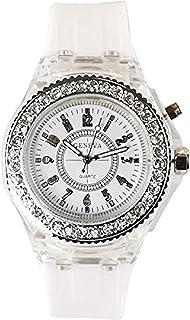 DDL Watch 时尚设计闪亮的 LED 时尚手表(脱颖而出!表壳发光)白色