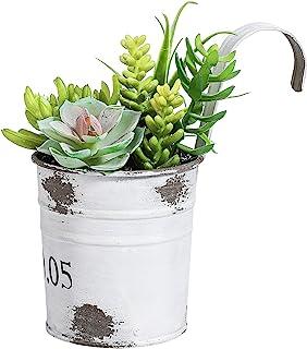 QL design 17.78 厘米多色人造肉植物装饰,复古镀锌花盆,家庭/办公室装饰