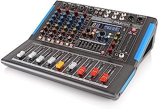 蓝牙工作室音频混音器 - DJ 音响控制器接口,带 USB 驱动器,用于 PC 录音输入,XLR 麦克风插孔,48V 电源,输入/输出,适合专业人士和初学者PMXU46BT 4 Channel Pro