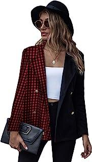 Milumia 女式优雅长袖双纽扣前西装千鸟格拼色工作办公室外套