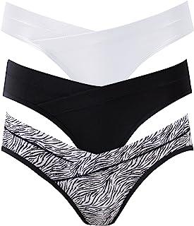 女式 Under The Bump 孕妇内裤棉质孕妇产后内裤多件装, 斑马线 I-3 件装, X大码