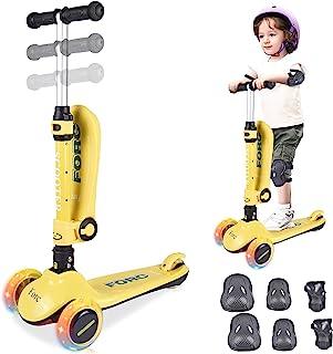 儿童滑板车,2 合 1 儿童滑板车,三轮加超宽 PU 发光,可调节高度带超宽甲板和后轮刹车,儿童滑板车和幼儿滑板车,适合 1-14 岁男孩和女孩