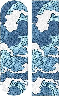 BECCI 抽象蓝白波浪滑板握把胶带砂纸无气泡易粘贴长板握把胶带防滑防撕裂滑板握把胶带 23.1 厘米 x 84.1 厘米
