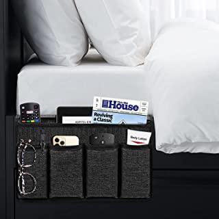 Joywell 床头柜收纳盒,亚麻床边收纳盒,便携式遥控支架,桌面橱柜储物收纳器,适用于杂志电话遥控器,黑色