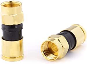 金色同轴电缆压缩接头 - 4 件装连接器 - 适用于 RG6 同轴电缆 - 带防风雨密封 O 环和防水手柄