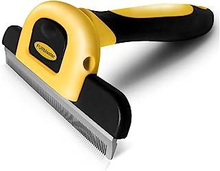 DakPets *刷-狗毛和猫毛*工具带不锈钢修剪刀片 - 适用于猫狗和中长毛毛的**工具,减少宠物毛发 95% 黄色