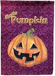 Caroline's Treasures Hello Pumpkin Halloween Flag Made or Printed in the USA 多色 大