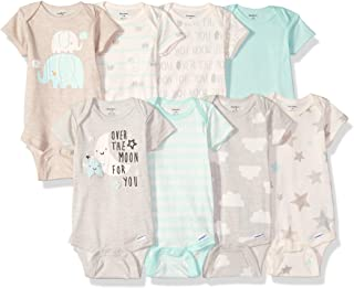 Gerber 嘉宝 婴儿8件装 短袖连体衣,大象们,6 - 9 Months