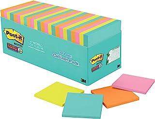 Post-it *便签纸,3 x 3 英寸(约 7.6 x 7.6 厘米),24 个胶垫,2 个胶带,迈阿密系列,霓虹色(橙色,粉色,蓝色,*),可回收(654-24SSMIA-CP) - 8 件装