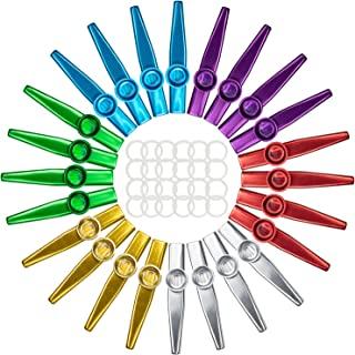 Foraineam 24 件装金属 Kazoos 带 24 件 Kazoo 长笛隔膜 6 色乐器,是尤克里里、小提琴、吉他、钢琴键盘的好伴侣