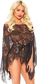 Leg Avenue 蕾丝长袍和丁字裤,黑色,均码