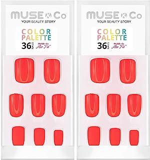 MUSE & Co 粘胶 36 个乳甲 中等长度光泽哑光红色调色板(2 件装)