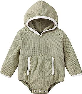 女婴男孩衣服华夫格针织长袖连帽衫连身衣纯色超大运动衫秋季服装