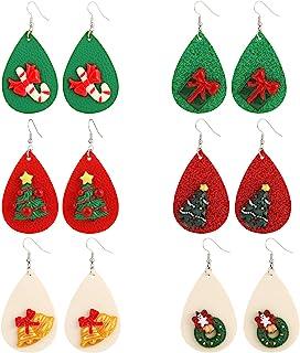 6-12 件圣诞 MTSCE 皮革耳环卡通可爱吊坠耳环假日首饰适合女士女孩