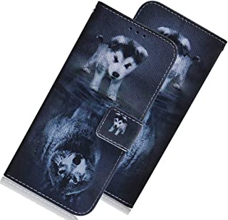 LEECOCO Moto G8 Plus 超薄 3D 豪华印花 PU 皮革钱包式手机壳 TX: Dog Wolf