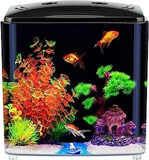 1.2 加仑(约 3.8 升)Betta 水族箱鱼缸,带 LED 灯和过滤器(黑色)