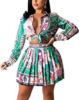 女式性感正面自绑 2 件套花卉印花服装长袖露脐上衣和迷你褶皱裙套装