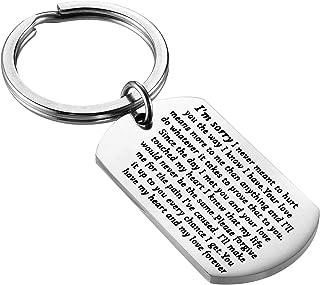 FEELMEM 道歉钥匙扣礼物 抱歉 礼物 抱歉 我很抱歉 狗 标签钥匙扣 原谅我礼物 向她说你对她抱歉