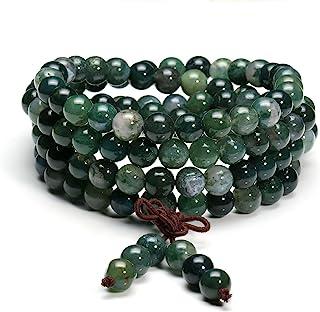 jovivi 6mm 8mm 藏佛教自然藓纹玛瑙颗宝石*宝石108MALA 诵经珠弹性手链项链