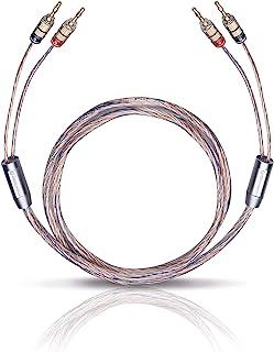 Oehlbach Twin Mix One B 200 – 扬声器电缆套装 镀银 2 × 3.0 平方毫米 带香蕉连接器 – 德国制造 – 2 × 2 米 – 透明