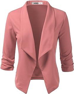 Doublju 女式休闲工作褶饰七分袖前开襟西装外套加大尺码