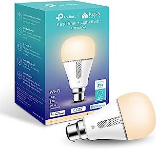 TP-Link Kasa 智能灯泡,WiFi 智能开关,B22,10W,无需集线器,适用于 Amazon Alexa(Echo and Echo Dot)和Google Home,可调光柔软暖白色(KL110B)