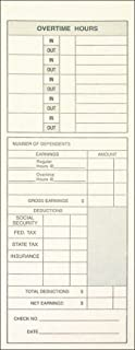 Adams 每周时间卡,双面,加班格式,命名日期,8.89 厘米 x 22.86 厘米,马尼拉,绿色/红色打印,200 支 (9791-200)