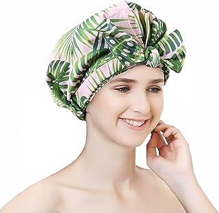Sent Hair 女士淋浴帽可重复使用防水浴帽长发帽适用于淋浴的可爱大型头巾淋浴帽用于编织(植物叶)