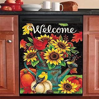圣诞冰箱磁贴,红衣主教鸟洗碗机盖,南瓜厨房装饰,秋季家电保护膜壁纸 23x26 英寸