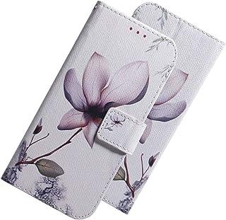 LEECOCO LG V50 超薄 3D 豪华印花 PU 皮革钱包式手机壳 TX: White Lotus