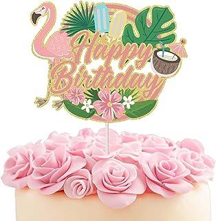 火烈鸟蛋糕顶饰闪光海滩派对主题蛋糕装饰夏季夏威夷海滨游泳池热带主题周年纪念婴儿派对用品