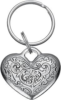 Danforth - Florentine Heart Pewter 钥匙圈 - 3.81 cm - 手工制作 - 美国制造