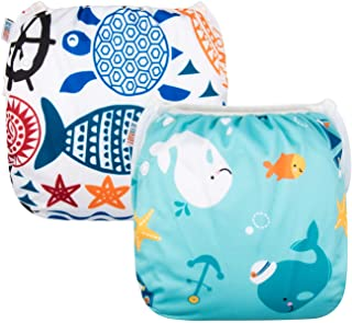 ALVABY 游泳尿裤大号尺寸 2 件套可重复使用,可水洗和可调节游泳课