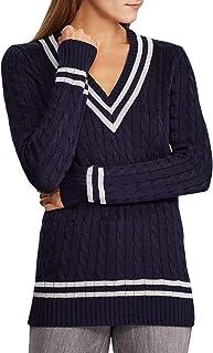 LAUREN RALPH LAUREN 女式金属板球毛衣*蓝/银色尺码 M